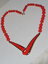 Vtg MODERNIST  ''RED ENAMEL'' Nike Check mark'' beaded Necklace,