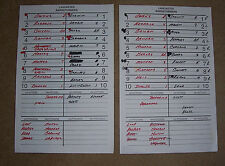 2 2013 LANCASTER BARNSTORMERS (Atlantic League) Game Used Line-Up DUGOUT CARDS