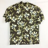 Tommy Bahama Men's 100% Soft Silk Embroidered Floral Hawaiian Shirt size L