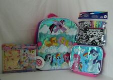 """My Little Poney 16"""" Backpack Insulated Lunch Box Pencil Case Sticker NWT"""