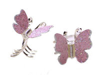 Pair of Enchanting Pink Glitter/Spring Chrome Butterfly Hair Clips (Zx255)