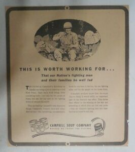 Campbell's Soup Ad: World War Two Feeding Soldiers ! from 1940's 9 x 10 inches
