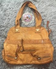 Gustto Tan Khaki Leather Hobo Double Strap Tote USA Zipper Pockets