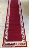 2x8 Runner Area Rug Modern Greek Key Hallway Solid Red Carpet with Border 7'2x2'