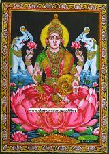Hindu Vedic God Luxmi Pink Lotus White Elephants Tapestry Cotton 40*28 inches