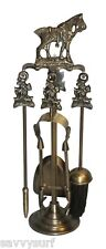 Horse Brass Fireplace Companion Set Fireplace Accessories Fire Side Tools Poker