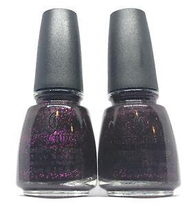 China Glaze Nail Polish Mummy May I 942 Deep Purple w Fuchsia Glitter Lacquer