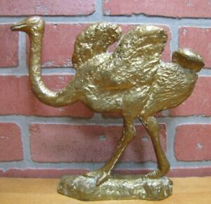 Antique Brass Ostrich Doorstop Figural Bird Decorative Arts Statue Door Stopper