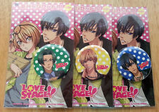 Love Stage - Pin Button Can Badge LOT of 3 - Ryouma Rei Shougo - BL Yaoi