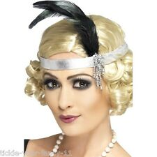 Womens Silver Satin Charleston Headband Flapper 20's Fancy Dress Dancer Gangster
