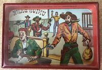 Vintage Old West Metal Dexterity Puzzle Bank robbers robbing a bank