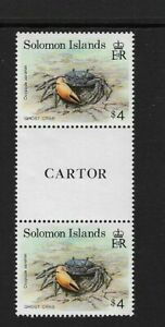 1993 SOLOMON ISLANDS - Crab - Gutter Pair - Unhinged Mint.