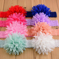 14 Colors Kid Baby Girls Elastic Headwear Lace Flower Headband Hair Bow Lot