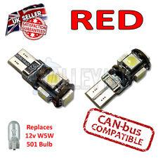 2 x rojo brillante Canbus LED lateral placa Interior 5 SMD T10 501 W5W bombillas de luz