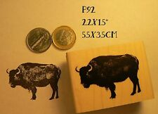 P92 Bison rubber stamp Wood Mounted