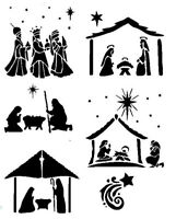 STENCILS CRAFTS TEMPLATES SCRAPBOOKING CHRISTMAS NATIVITY STENCIL - 4 - A4 MYLAR