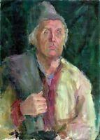 """Russischer Realist Expressionist Öl Leinwand """"Bauer"""" 70 x 50 cm"""