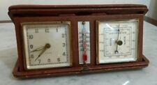 Antique Clock 4 rubies, thermometer and travel barometer European original