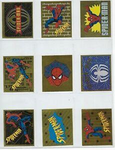 1995 Spider-Man Panini Gold Foil insert stickers # B - # Q ,U-Pick.