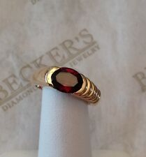 14k yellow gold Bezel Set Oval Garnet Ring in Ribbed Mounting 1.88 ct size 6.5