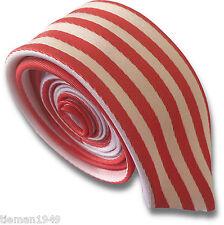 Blanc et rouge skinny slim retro cravate vertical étroit rayures