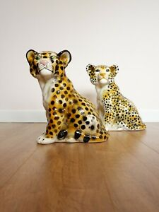Vintage Retro 1960s 1970s Pair of Ceramic Cheetahs / Leopards
