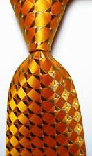 New Classic Checks Orange Gold White JACQUARD WOVEN Silk Men's Tie Necktie