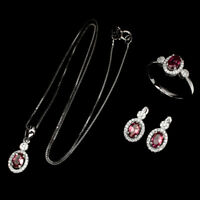 Oval Pink Tourmaline 6x4mm Cz 925 Sterling Silver Set Of Necklace Earrings Ring