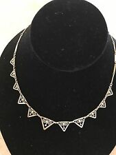 ANTIQUE VICTORIAN FRENCH  18K R GOLD FILIGREE LEAFS NECKLACE DRAPERIE c 1880