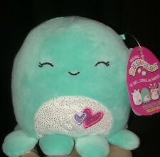 """NWT Squishmallows Valentines 5"""" OLINA Teal Green Blue Octopus Sparkle Plush"""