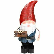 Large Gnome Welcome Sign Garden Sculpture Ornament Statue Metal Decoration