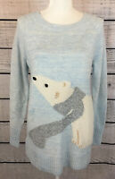 Lauren Conrad Blue Polar Bear Pullover Tunic Sweater Women's Size Small NWT