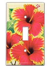 HAWAIIAN HIBISCUS FLOWERS SINGLE GFI LIGHT SWITCH PLATE COVER FLORAL DECOR NEW