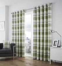"Balmoral Green Grey Cream Cotton 90"" x 90 Lined Anneau Top Curtians"