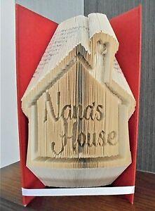 "Book folded gift ""Nanas House"" nan grandma birthday christmas present"