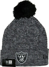 New Era NFL Oakland Raiders Bobble Grey Sport Knit Sideline Beanie Fitted Hat