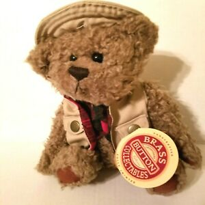 """TANNER Teddy Bear 12"""" jointed Plush Brass Button Collectibles Outdoors Posable"""