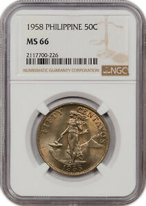 1958 PHILIPPINES 50C MS 66 ONLY 6 GRADED HIGHER!