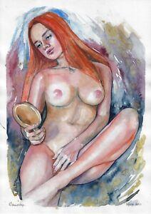 original painting A3 415DO art samovar watercolor modern sketch female nude