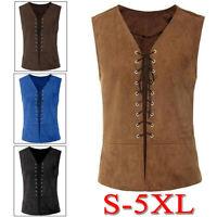 Men Vintage Medieval Steampunk Vest Renaissance Sleeveless Cosplay Costume Shirt
