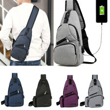 Men Women Sling Chest Pack USB Charging Sports Crossbody Handbag Shoulder Bag