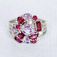 Womens Sterling Silver 925 Ring Amethyst Ruby Sapphire Gemstone Signed 9.5