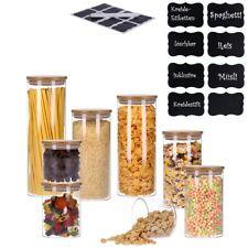 Set Vorratsgläser mit Bambusdeckel, Vorratsdose inkl. 8 Kreidesticker & Stift