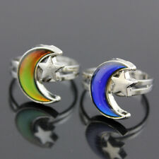 Moon and Star Shape Color Change Mood Ring Emotion Changeable Band Adjustable