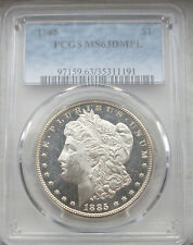 1885 PCGS MS63 DMPL MORGAN SILVER DOLLAR * BLACK AND WHITE CAMEO ULTRA DEEP! *