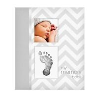 Simple Gray Chevron Boy Baby Book :  Baby Memory Books / Baby Record Books