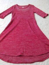 Girl's  Faded Glory Rust Three-Quarter Sleeve Knit Asymmetric Dress Size 10-12