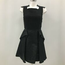 Jean Pierre Braganza A Line Dress Womens Size UK M Black Cotton Cut Out 281695