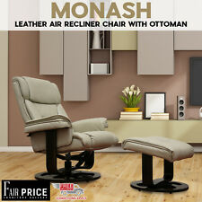 New Luxury Wooden Base Leather Air Monash Recliner Chair With Ottoman, Beige