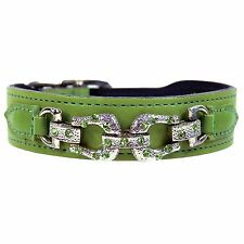 """NWT Hartman & Rose Gucci Pet Cat or Dog After 8 Leather Collar Nickel 10 - 12"""""""